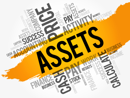 Assets word cloud collage, business concept background Ilustração