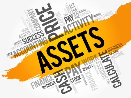 Assets word cloud collage, business concept background Illustration