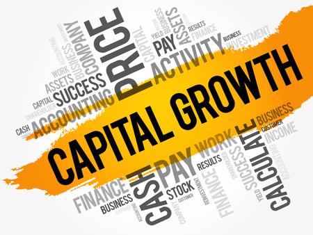 Capital growth word cloud collage, business concept background Ilustração