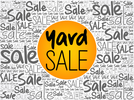 YARD SALE word cloud background, business concept