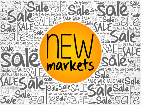 New Markets word cloud background, business concept