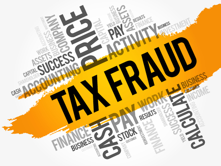 Tax fraud word cloud collage, business concept background