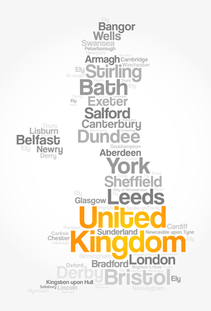 List of cities and towns in UNITED KINGDOM, map word cloud collage, business and travel concept background Illustration