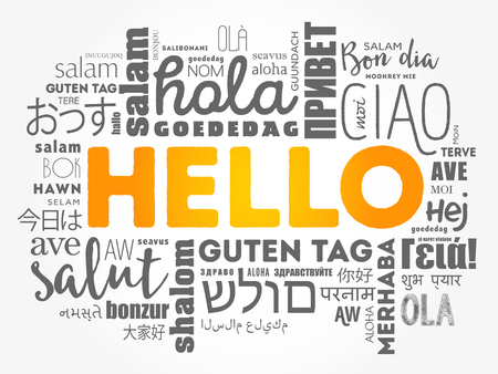Hello word cloud collage in different languages of the world Stok Fotoğraf - 123779270
