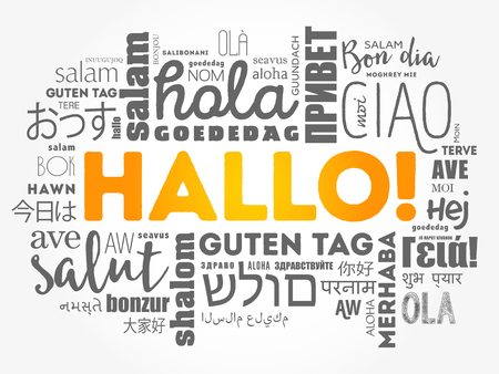 Hallo (Hello Greeting in German) word cloud in different languages of the world Stok Fotoğraf - 123779278