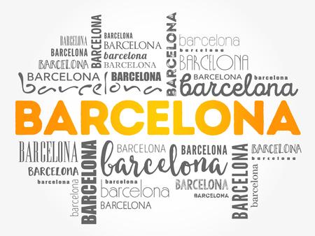 Nube di parola della carta da parati di Barcellona, fondo di concetto di viaggio Vettoriali