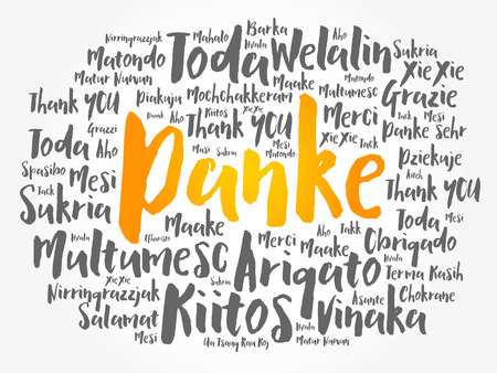Danke (Thank You in German) word cloud background in different languages 向量圖像