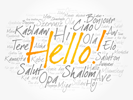 Hello word cloud collage in different languages of the world Vettoriali