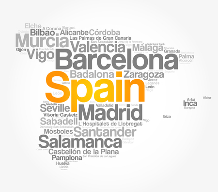 List of cities and towns in SPAIN, map word cloud collage, business and travel concept background