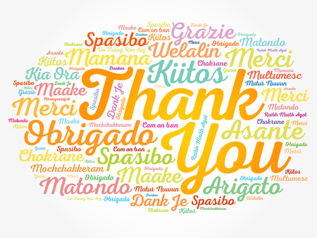 Thank You word cloud in different languages, concept background Vetores