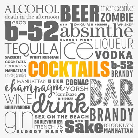 Diferentes cócteles e ingredientes, collage de nube de palabras, fondo del concepto de diseño
