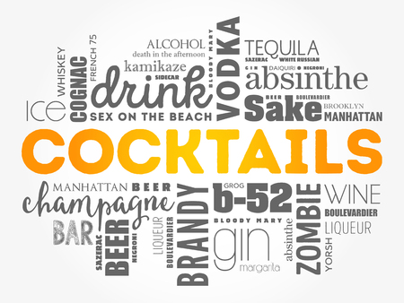 Different cocktails and ingredients, word cloud collage, design concept background Standard-Bild - 120505315