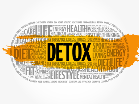 DETOX word cloud collage, health concept background