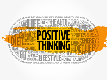 Positive thinking word cloud collage, health concept background Reklamní fotografie - 120505360