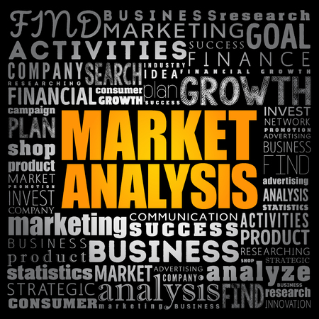 Market Analysis word cloud collage, business concept background