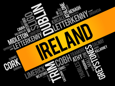List of cities in Ireland word cloud collage, business and travel concept background Ilustração