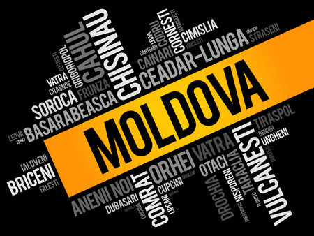 List of cities in Moldova word cloud collage, business and travel concept background