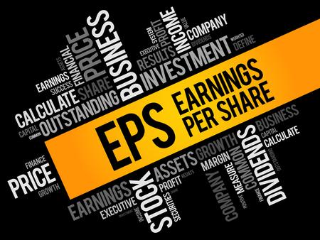 EPS - Ergebnis pro Aktie Wortwolkencollage, Geschäftskonzepthintergrund