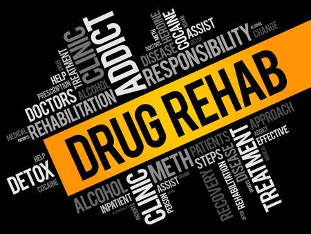 Collage de nuage de mots de réadaptation de drogue, fond de concept de santé
