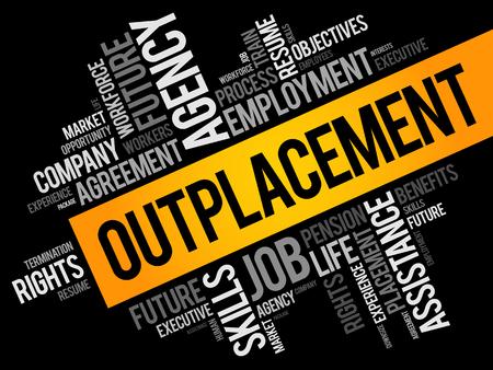 Outplacement-Wortwolkencollage, Geschäftskonzepthintergrund