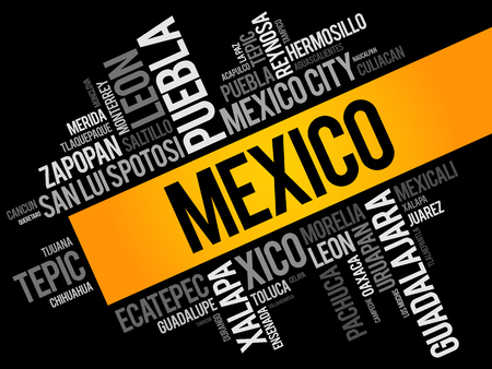 List of cities and towns in Mexico, word cloud collage, business and travel concept background 矢量图像