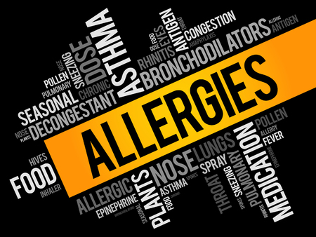 Allergies word cloud collage, health concept background 向量圖像