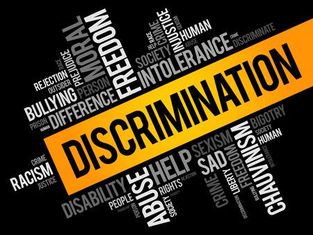 Collage de nuage de mots de discrimination, fond de concept social Vecteurs