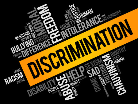 Discrimination word cloud collage, social concept background Stock Illustratie