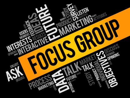 Grupo de enfoque palabra nube collage, fondo del concepto de negocio Ilustración de vector