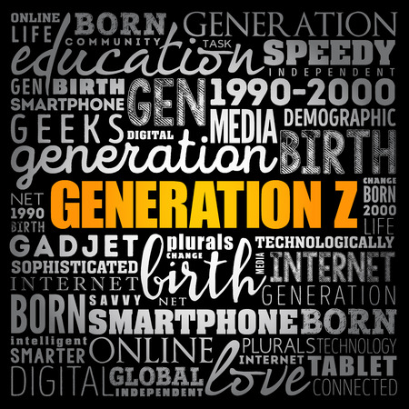 Generation Z Word Cloud collage, concept background