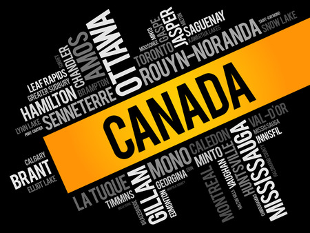 List of cities and towns in Canada, word cloud collage, business and travel concept background Illustration