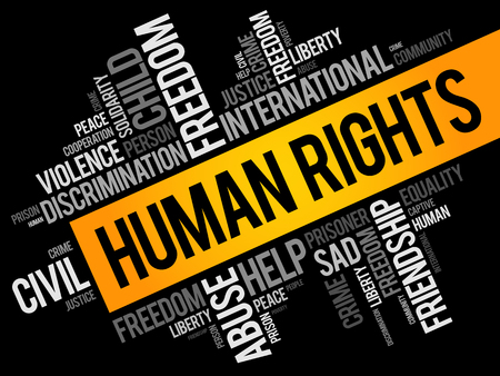 Human rights word cloud collage, social concept background Vecteurs