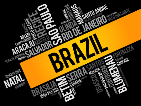 List of cities and towns in Brazil, word cloud collage, business and travel concept background