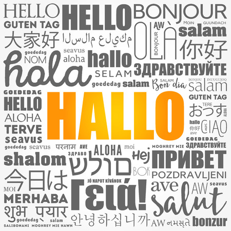 Hallo (Hello Greeting in German) word cloud in different languages of the world, background concept Çizim
