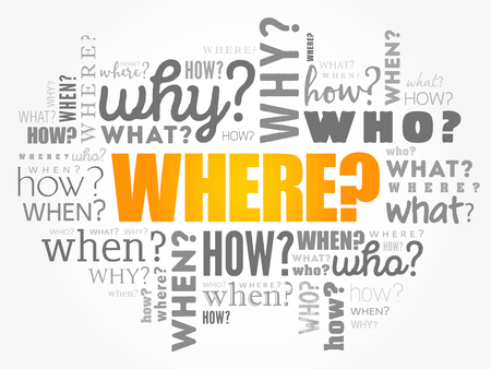 Where? - Questions whose answers are considered basic in information gathering or problem solving, word cloud background