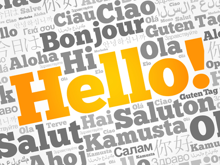 Hello word cloud collage in different languages of the world Stok Fotoğraf - 123565678