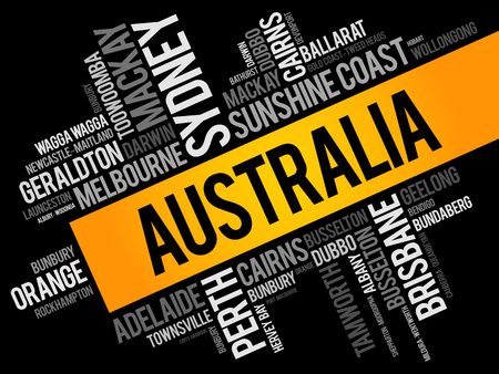 List of cities and towns in Australia, word cloud collage, business and travel concept background