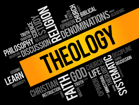 Theology word cloud collage, religion concept background Zdjęcie Seryjne - 123500464