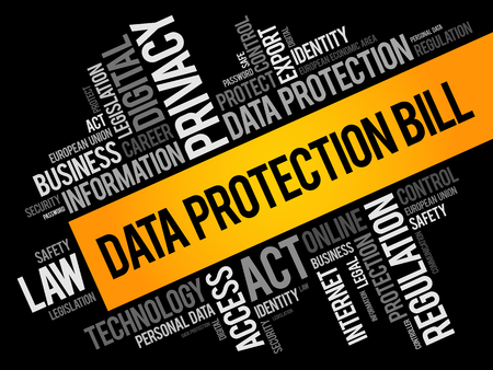 Data Protection Bill word cloud collage, technology concept background Vectores