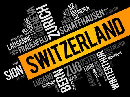 Lista de ciudades y pueblos de Suiza, collage de nube de palabras, antecedentes de concepto de viajes y negocios