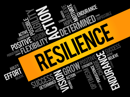 Collage de nube de word de resiliencia, fondo del concepto de negocio