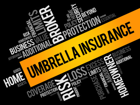 Umbrella Insurance word cloud collage, business concept background Illustration