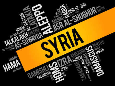 List of cities and towns in Syria, word cloud collage, business and travel concept background Ilustración de vector