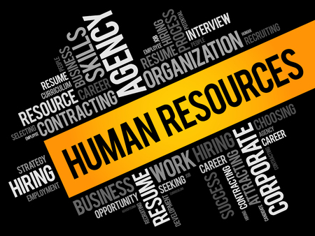 HR - Human Resources word cloud collage, business concept background
