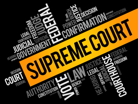 Supreme Court word cloud collage, social concept background  イラスト・ベクター素材