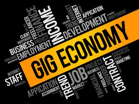 Collage de nuage de mots d'économie de gig, arrière-plan de concept d'entreprise Vecteurs