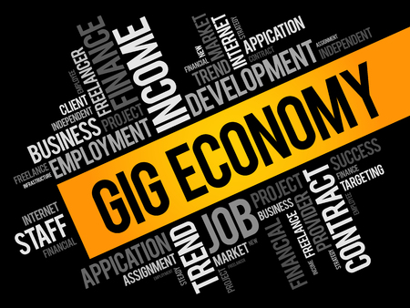 Gig Economy word cloud collage, business concept background Vectores