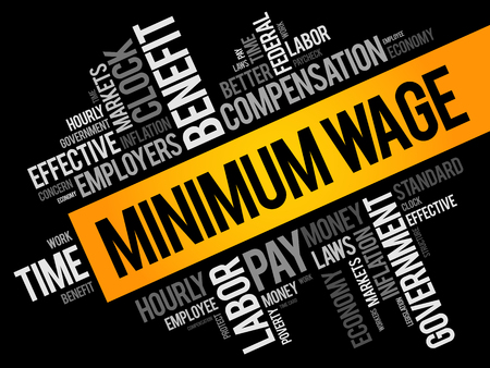 Minimum Wage word cloud collage, business concept background Çizim