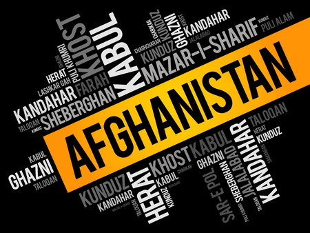 List of cities and towns in Afghanistan, word cloud collage, business and travel concept background