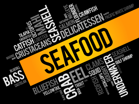 Seafood word cloud collage, food concept background 일러스트